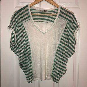 White & green burnout flowy T-shirt